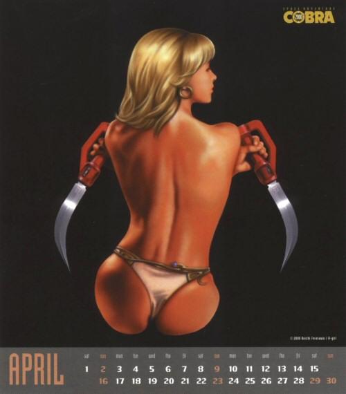 Calendrier Space Adventure Cobra Girls 2000 - avril