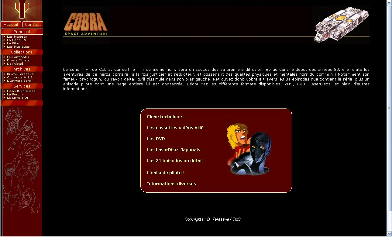 Space adventure Cobra - 10 ans de Cobraworld - Site en 2001