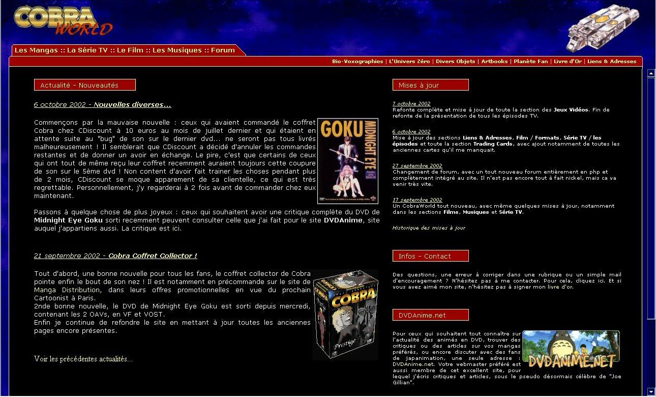 Space adventure Cobra - 10 ans de Cobraworld - Site en 2002
